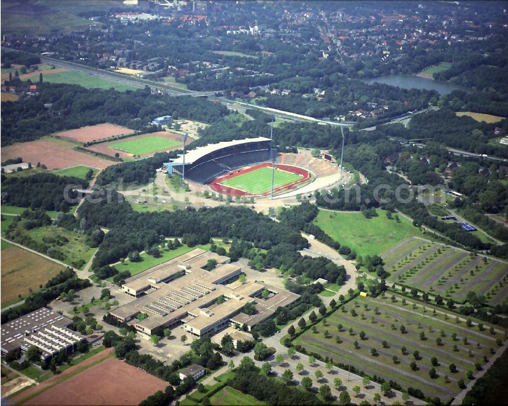 Aerial image Gelsenkirchen - Sports facility grounds of stadium Glueckauf in Gelsenkirchen in the state North Rhine-Westphalia, Germany