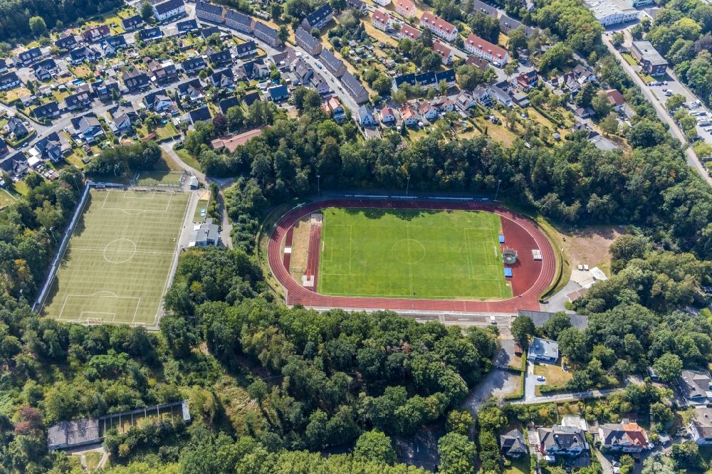 Menden (Sauerland) from above - Sports facility grounds of stadium Huckenohl-Stadion in Menden (Sauerland) in the state North Rhine-Westphalia, Germany