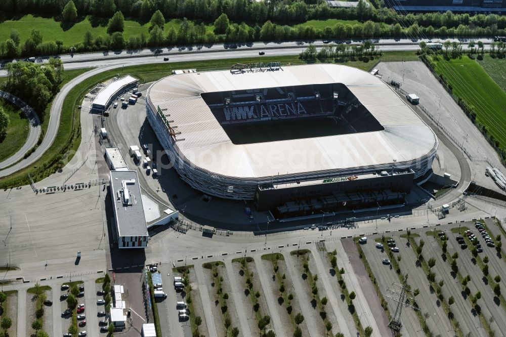 Augsburg from above - WWK formerly SGL Arena stadium of the football club FC Augsburg in Bavaria, Germany