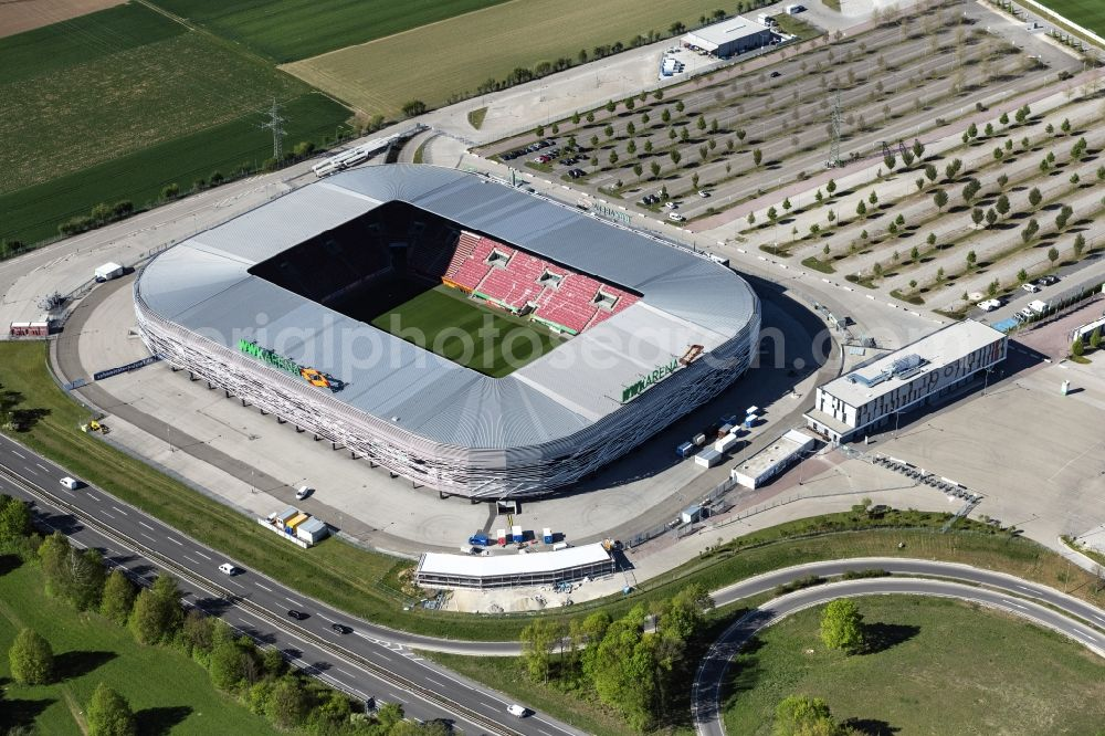 Augsburg from the bird's eye view: WWK formerly SGL Arena stadium of the football club FC Augsburg in Bavaria, Germany
