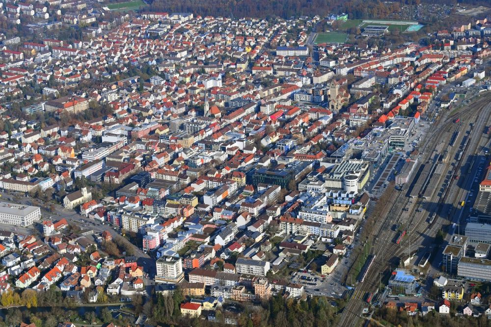 Singen (Hohentwiel) from above - District in the city around the railway station in Singen (Hohentwiel) in the state Baden-Wuerttemberg, Germany
