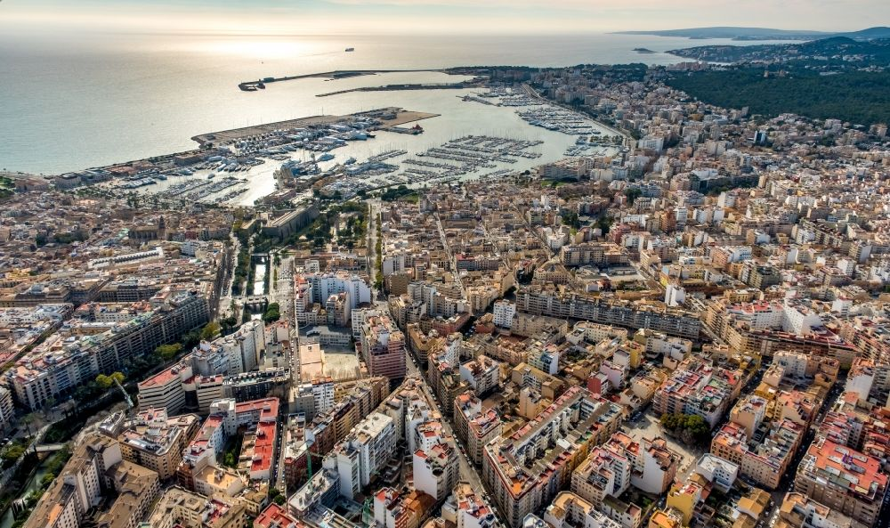 Aerial image Palma - City view of the city center at the seaside coastal area with port in Palma in Balearic island Mallorca, Spain