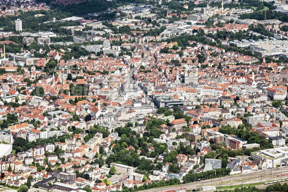 Augsburg from the bird's eye view: City view on down town in Augsburg in the state Bavaria, Germany