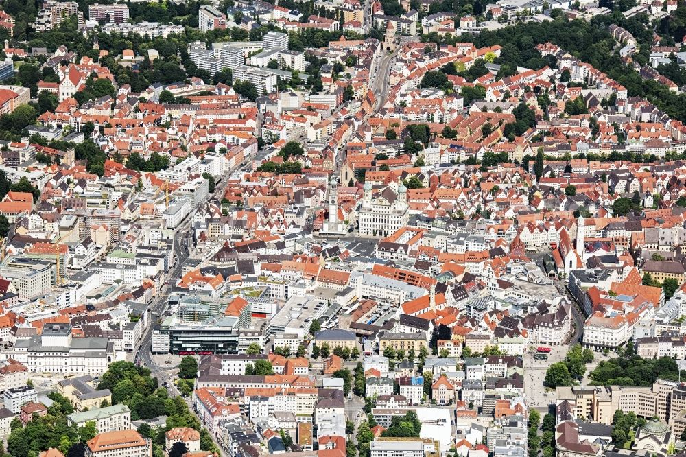 Aerial image Augsburg - City view on down town in Augsburg in the state Bavaria, Germany
