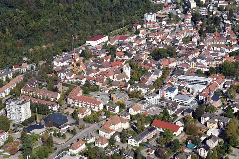 Schopfheim from above - City view on down town at the city hall and old town in Schopfheim in the state Baden-Wurttemberg, Germany