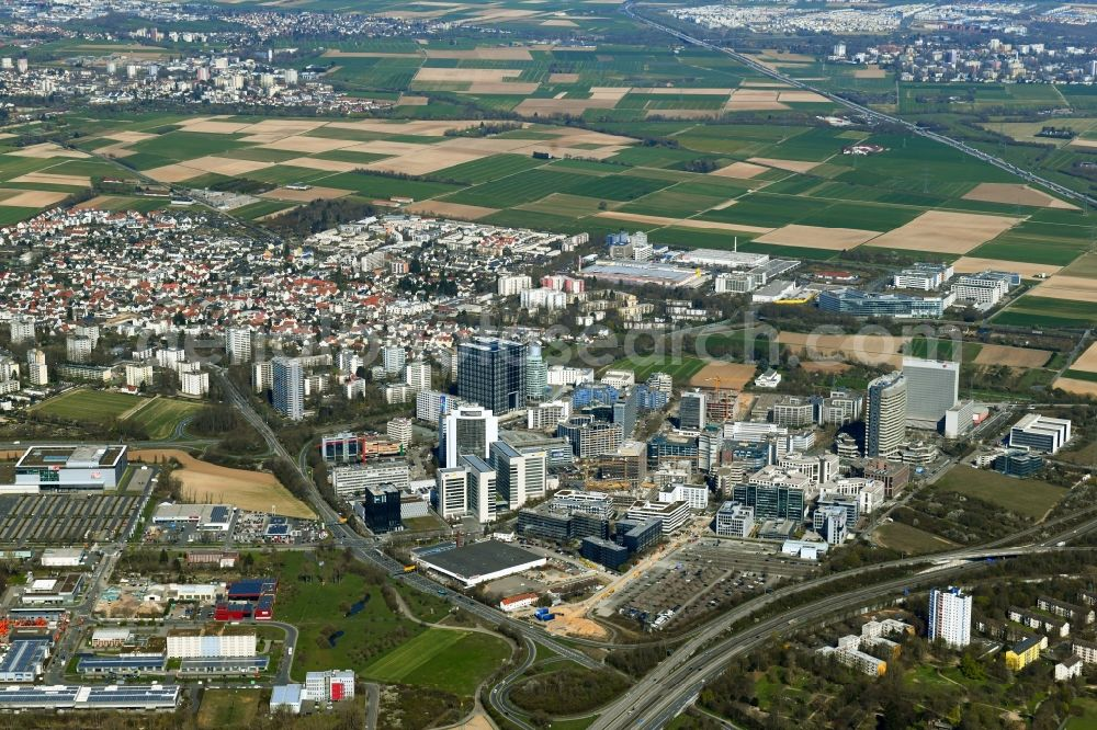 Eschborn from the bird's eye view: City view on down town in Eschborn in the state Hesse, Germany