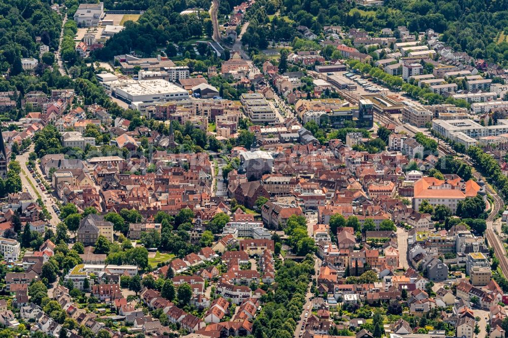 Aerial photograph Ettlingen - City view on down town in Ettlingen in the state Baden-Wurttemberg, Germany