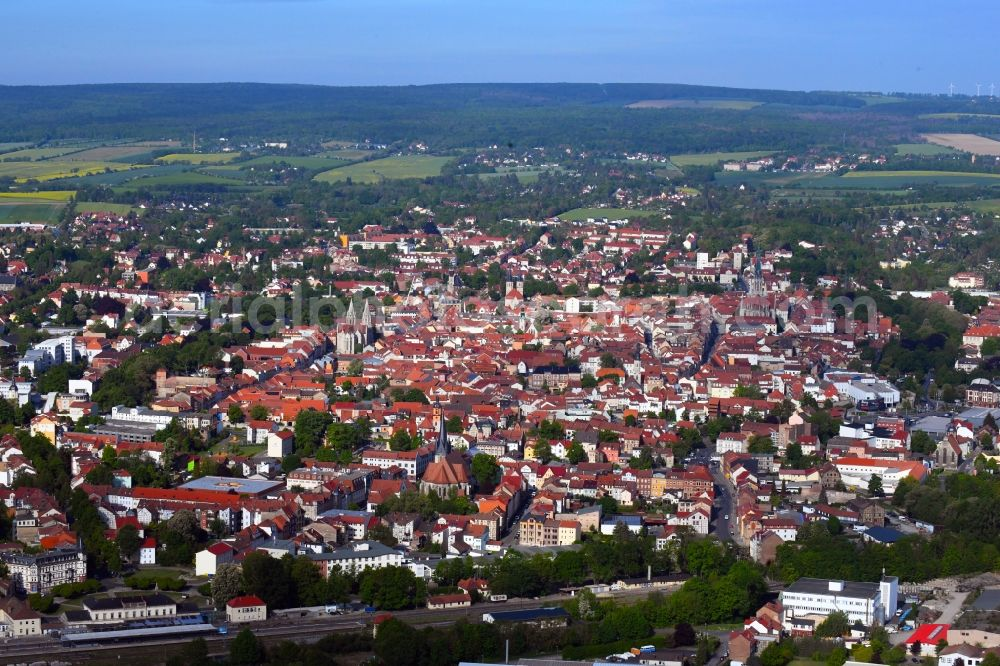 Aerial image Mühlhausen - City view on down town in Muehlhausen in the state Thuringia, Germany