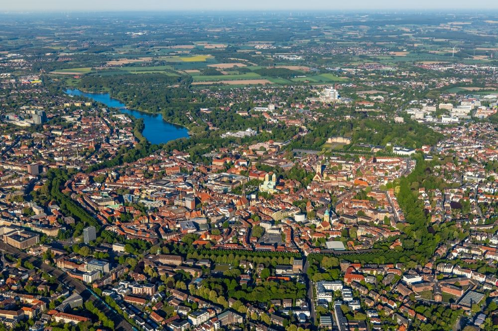 Aerial image Münster - City view on down town in Muenster in the state North Rhine-Westphalia, Germany