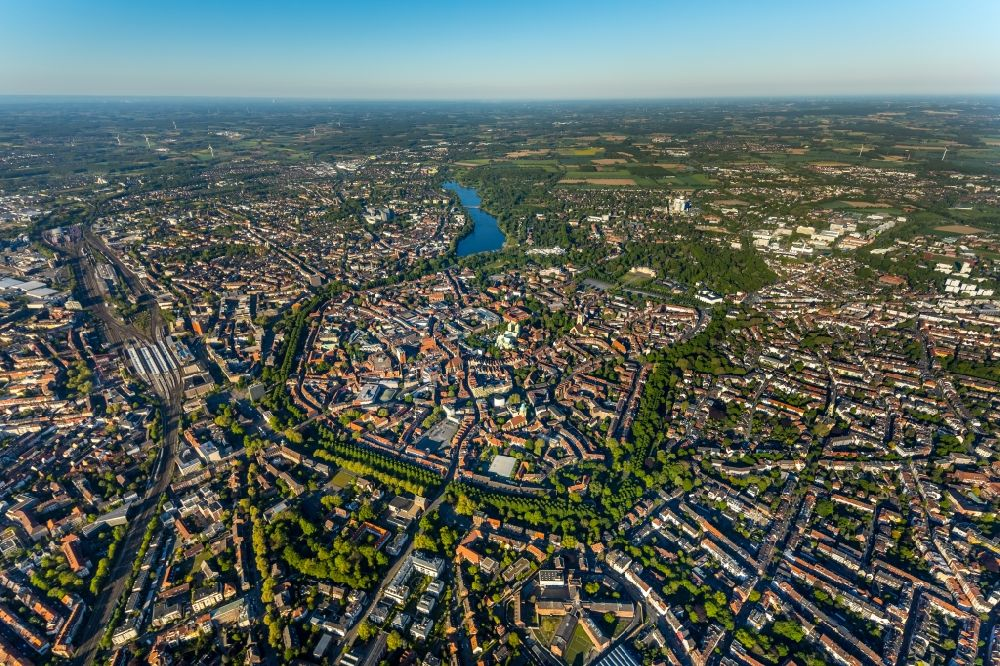 Aerial photograph Münster - City view on down town in Muenster in the state North Rhine-Westphalia, Germany