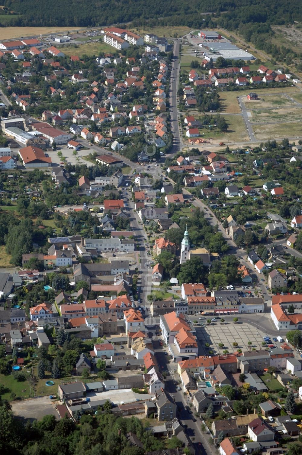 Aerial image Naunhof - City view on down town in Naunhof in the state Saxony, Germany