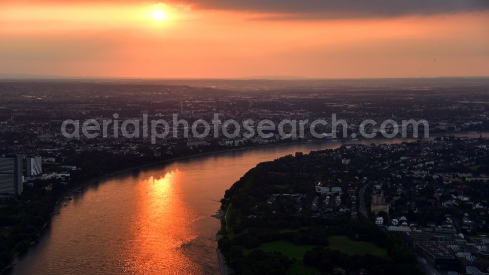 Bonn from above - Sunset City view on the river bank of the Rhine river in the district Gronau in Bonn in the state North Rhine-Westphalia, Germany