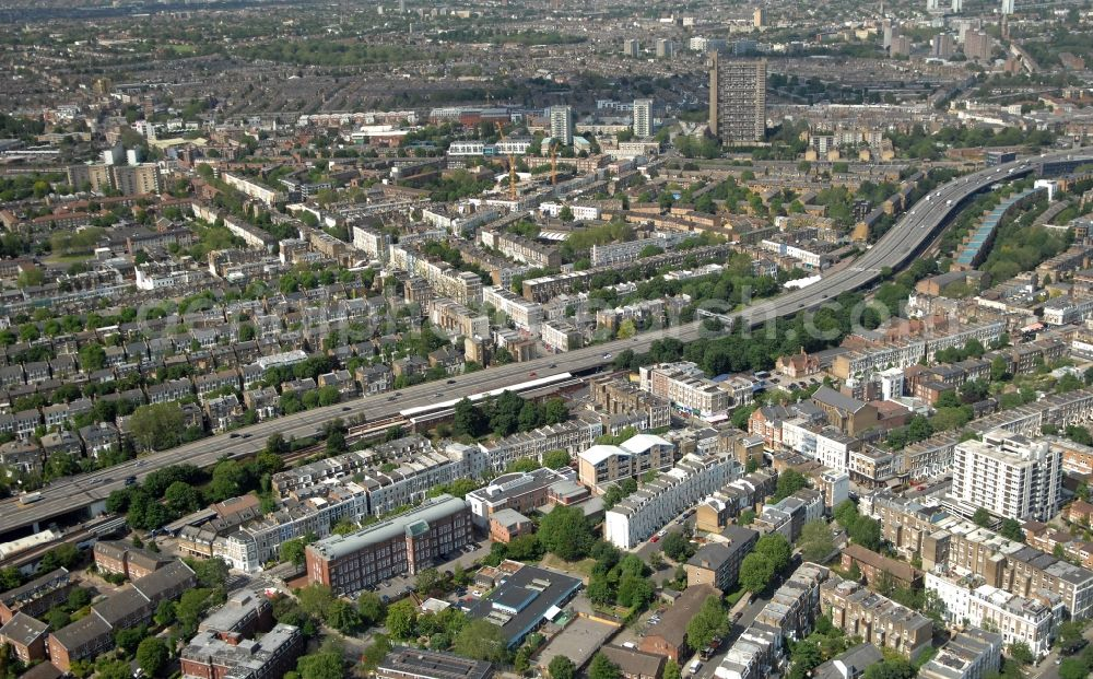 London from above - District view of the Royal Borough of Kensington and Chelsea in London in the county Greater London in the UK