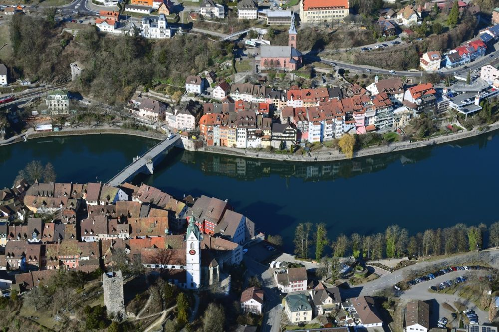 Laufenburg from the bird's eye view: City areas of the both cities of Laufenburg at the river Rhine in the canton Aargau, Switzerland and in Germany, Baden-Wuerttemberg.