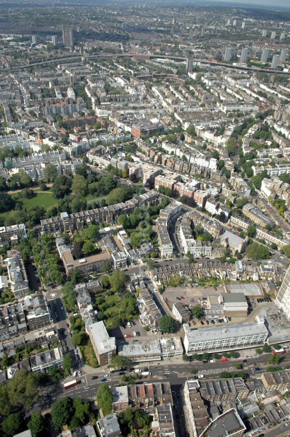 Aerial image London - View of Notting Hill in the district of Kensington and Chelsea in London in the counter Greater London in the UK