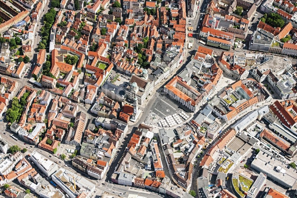 Aerial photograph Augsburg - The city center in the downtown area in Augsburg in the state Bavaria, Germany