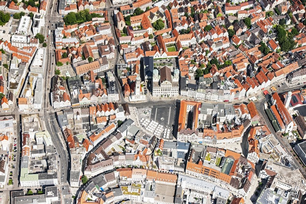 Augsburg from the bird's eye view: The city center in the downtown area in Augsburg in the state Bavaria, Germany