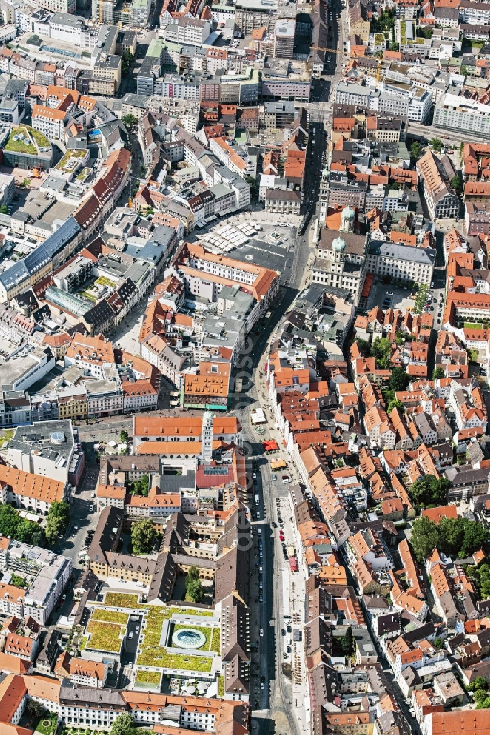 Augsburg from the bird's eye view: The city center in the downtown area in Augsburg in the state Bavaria
