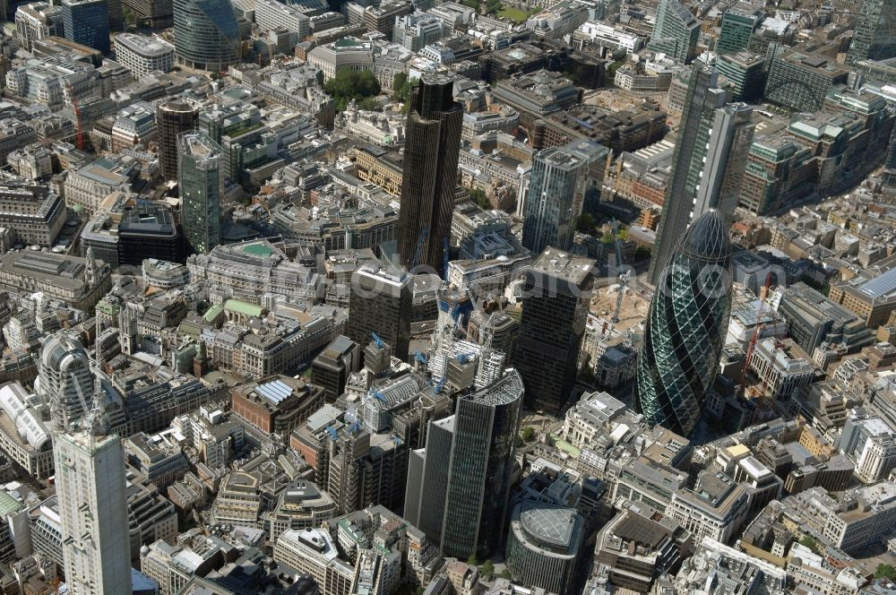 London from above - The city center in the downtown area in the district City of London in London in England, United Kingdom.