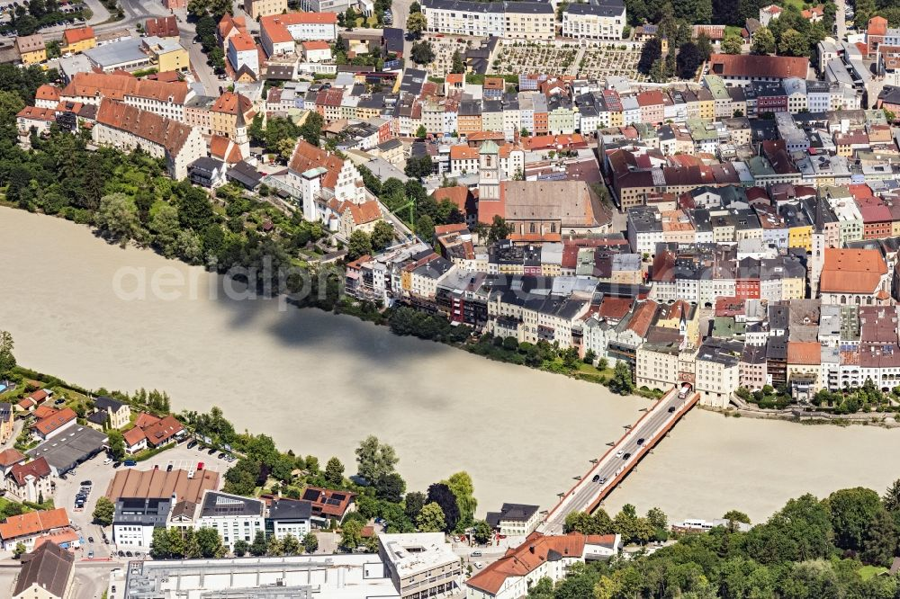 Wasserburg am Inn from above - City center in the downtown area on the banks of river course of Inn in Wasserburg am Inn in the state Bavaria, Germany