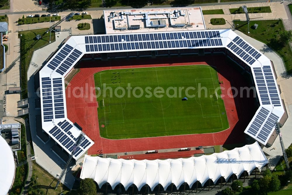 Erfurt from the bird's eye view: Arena of the Steigerwaldstadion at the Suedpark in Erfurt in the state Thuringia