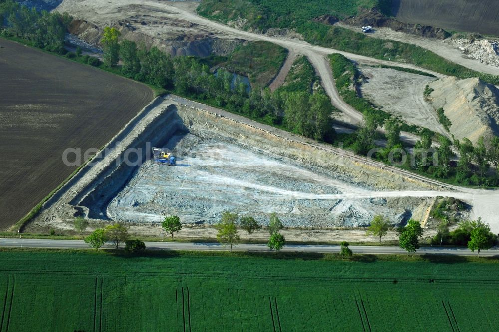 Aerial image Peißen - Quarry for the mining and handling of Claystone of Peissener Tonprodukte GmbH + Co KG in Peissen in the state Saxony-Anhalt, Germany