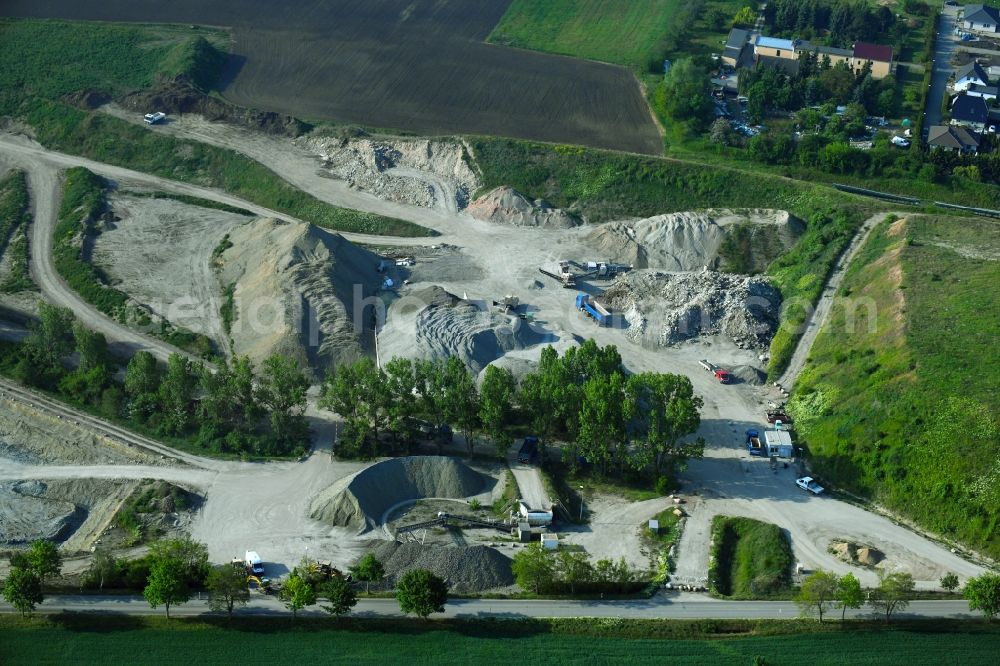 Peißen from above - Quarry for the mining and handling of Claystone of Peissener Tonprodukte GmbH + Co KG in Peissen in the state Saxony-Anhalt, Germany