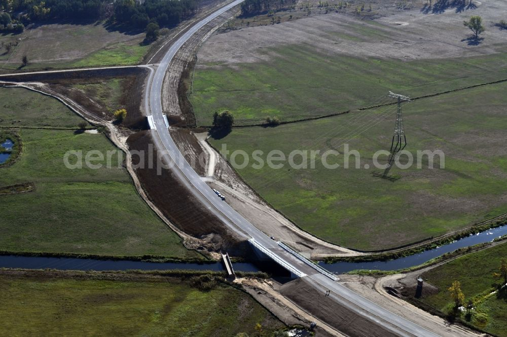 Aerial image Breese - Construction of the bypass road in in Breese in the state Brandenburg, Germany. Further information at: Ingenieurbuero Rauchenberger GmbH, Landesbetrieb Strassenwesen Brandenburg, OST BAU; Osterburger Strassen-, Tief- und Hochbau GmbH, Schuessler-Plan Ingenieurgesellschaft mbH.