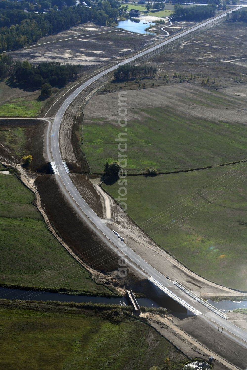 Aerial photograph Breese - Construction of the bypass road in in Breese in the state Brandenburg, Germany