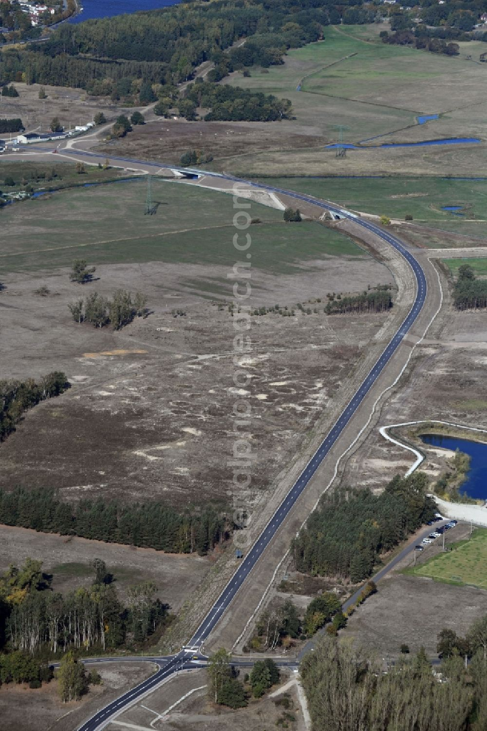 Aerial image Breese - Construction of the bypass road in in Breese in the state Brandenburg, Germany
