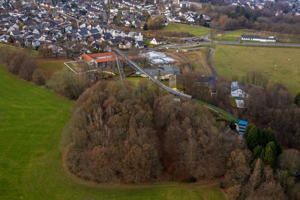 Aerial image Meinerzhagen - Training and competitive sports center of the ski jump in Meinerzhagen in the state North Rhine-Westphalia, Germany. Further information at: westdeutscher skiverband e.V..