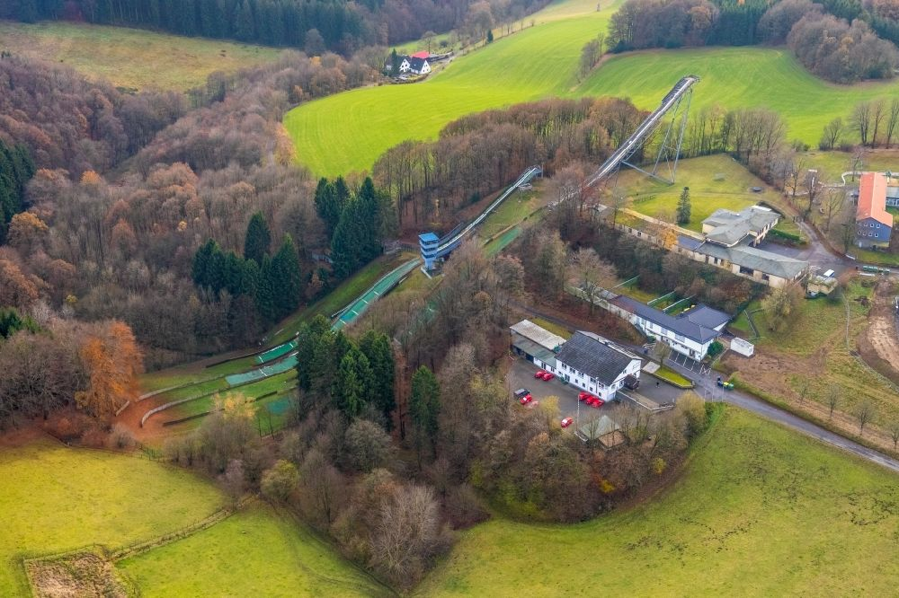 Meinerzhagen from above - Training and competitive sports center of the ski jump in Meinerzhagen in the state North Rhine-Westphalia, Germany