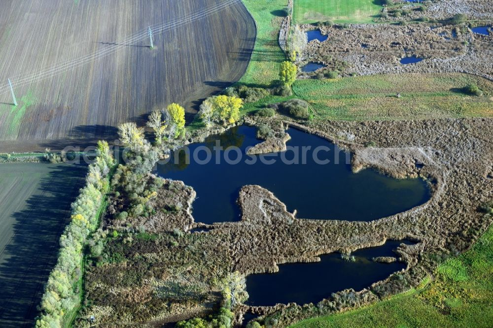 Päwesin from above - Ponds and Morast- water surface in a pond landscape in Paewesin in the state Brandenburg, Germany