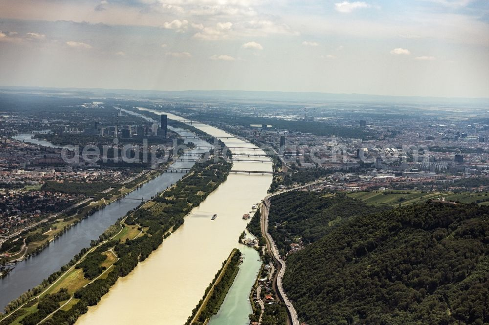 Wien from the bird's eye view: Riparian zones on the course of the river of the river Danube in Vienna in Austria.