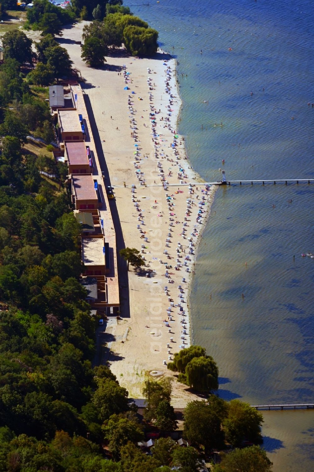 Berlin from above - Sandy beach areas on the lake Grosser Wannsee in the district Nikolassee in Berlin, Germany