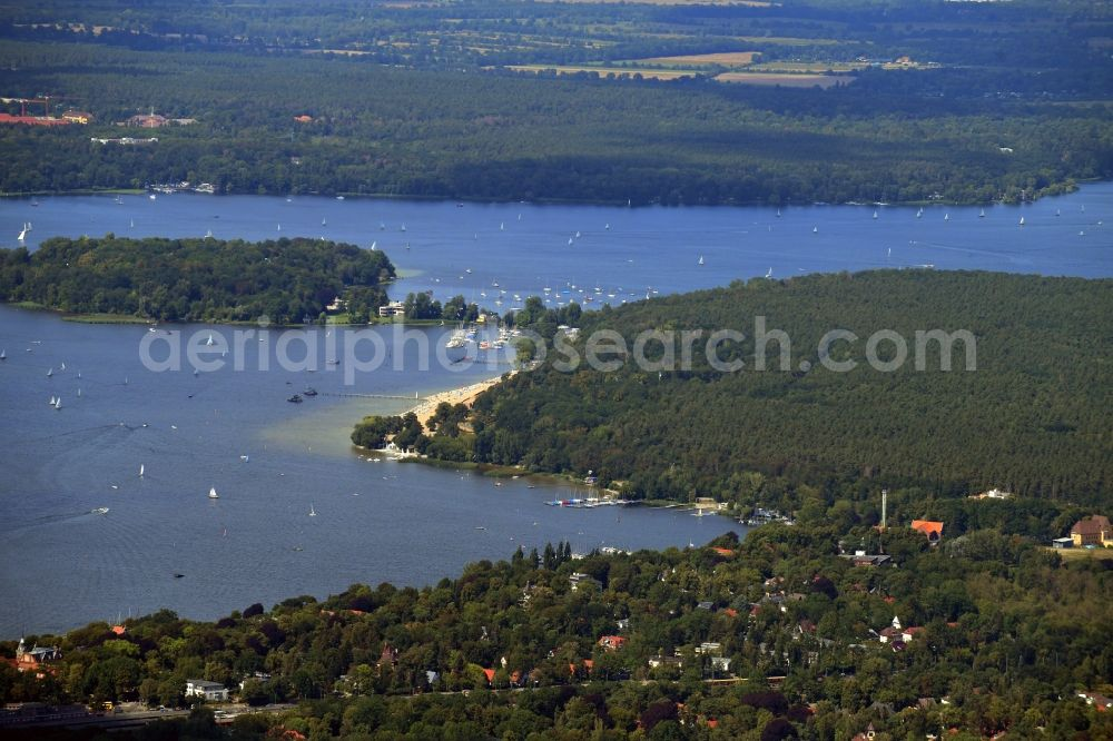 Berlin from above - Riparian areas on the lake area of Grosser Wannsee in the district Nikolassee in Berlin, Germany