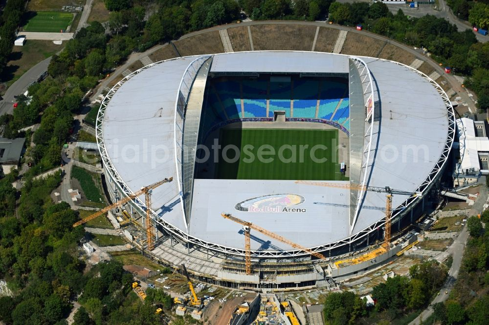 Leipzig from the bird's eye view: Extension and conversion site on the sports ground of the stadium Red Bull Arena Am Sportforum in Leipzig in the state Saxony, Germany