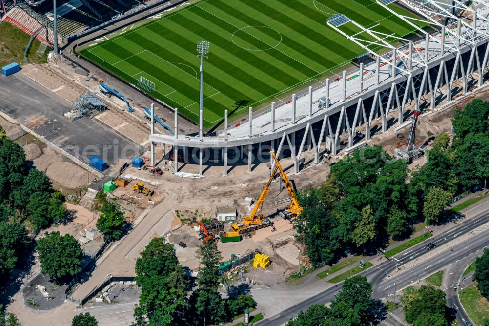 Aerial photograph Karlsruhe - Extension and conversion site on the sports ground of the stadium Wildparkstadion in Karlsruhe in the state Baden-Wurttemberg, Germany
