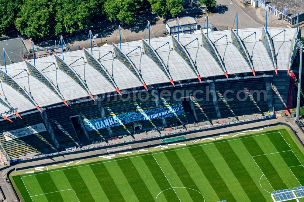 Karlsruhe from above - Extension and conversion site on the sports ground of the stadium Wildparkstadion in Karlsruhe in the state Baden-Wurttemberg, Germany