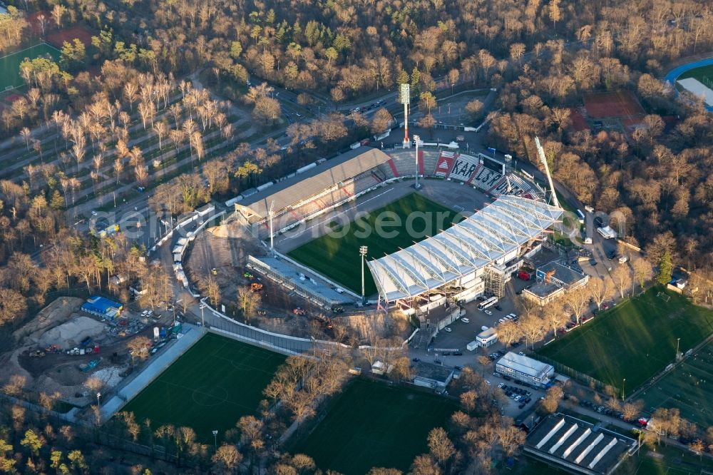 Aerial photograph Karlsruhe - Extension and conversion site on the sports ground of the stadium Wildparkstadion of the KSC in Karlsruhe in the state Baden-Wurttemberg, Germany