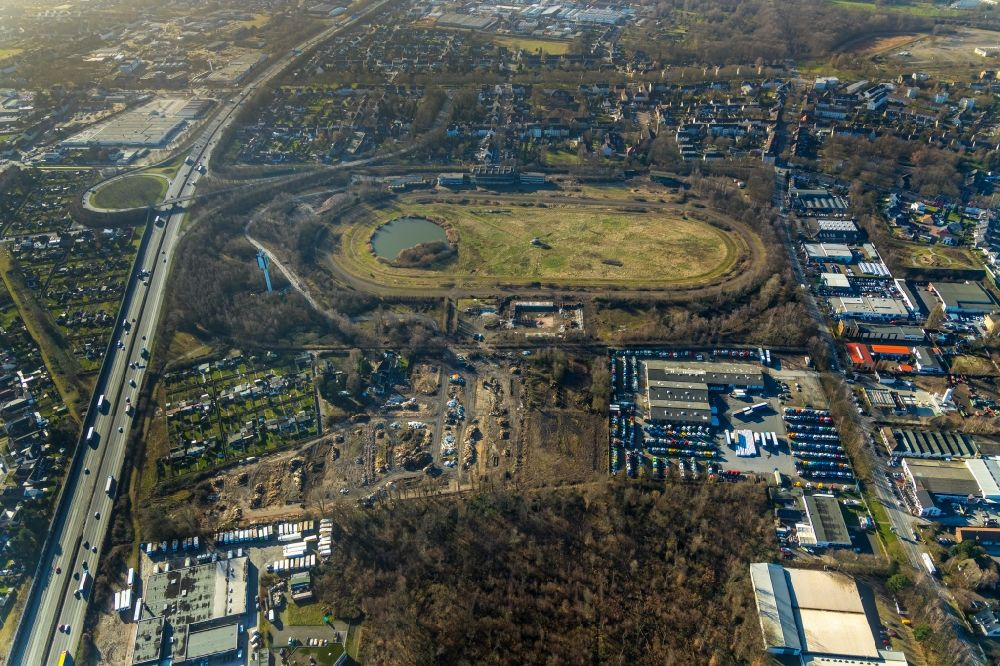 Recklinghausen from above - Development, demolition and renovation work on the site of the former racetrack - Trabrennbahn in Recklinghausen in the state North Rhine-Westphalia, Germany