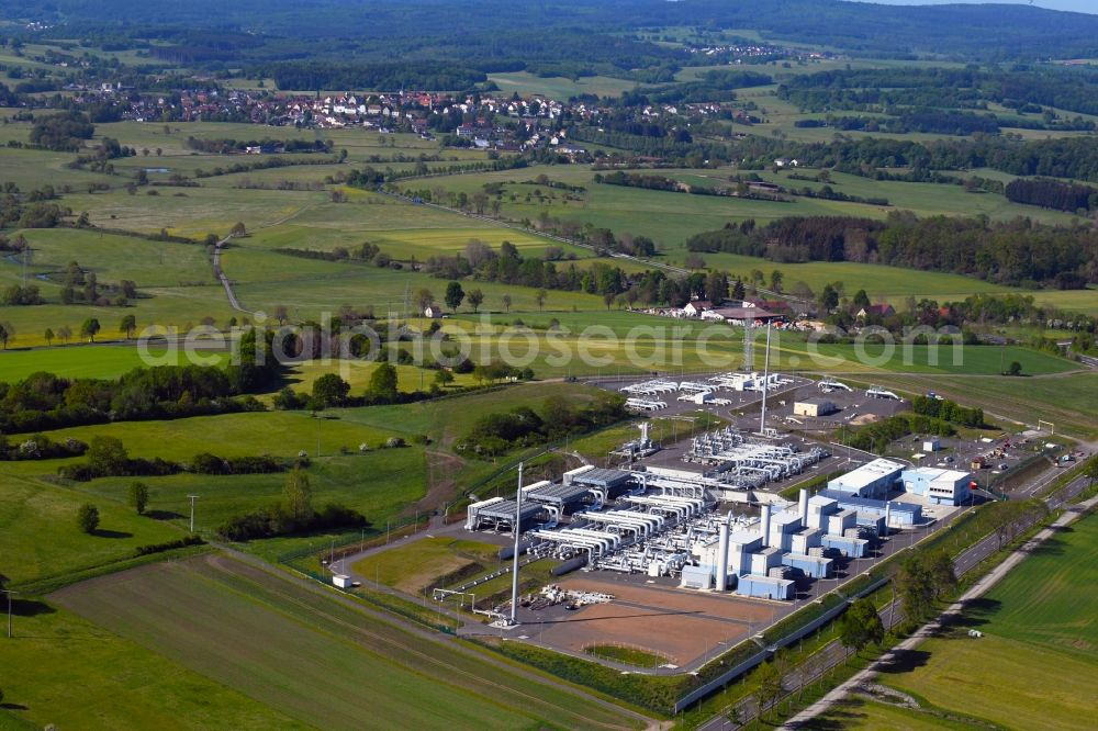 Herbstein from the bird's eye view: Compressor Stadium and pumping station for natural gas of Open Grid Europe GmbH (OGE) in the district Rixfeld in Herbstein in the state Hesse, Germany