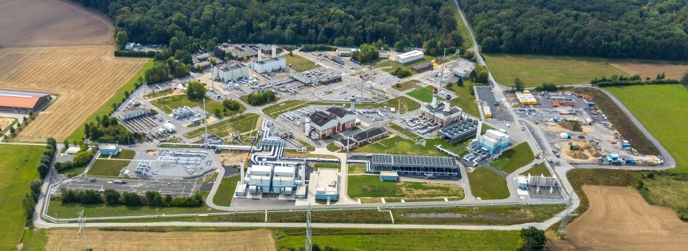 Werne from the bird's eye view: Compressor Stadium and pumping station for natural gas Open Grid Europe in Werne in the state North Rhine-Westphalia, Germany
