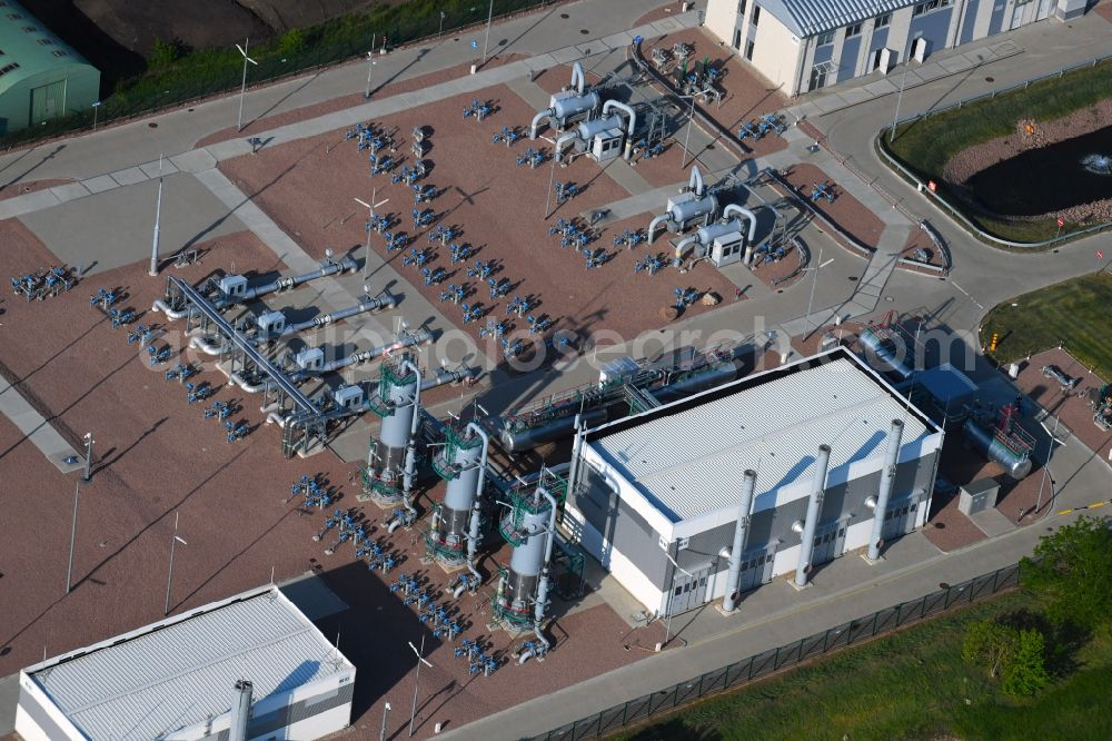 Aerial image Peißen - Compressor Stadium and pumping station for natural gas in Peissen in the state Saxony-Anhalt, Germany