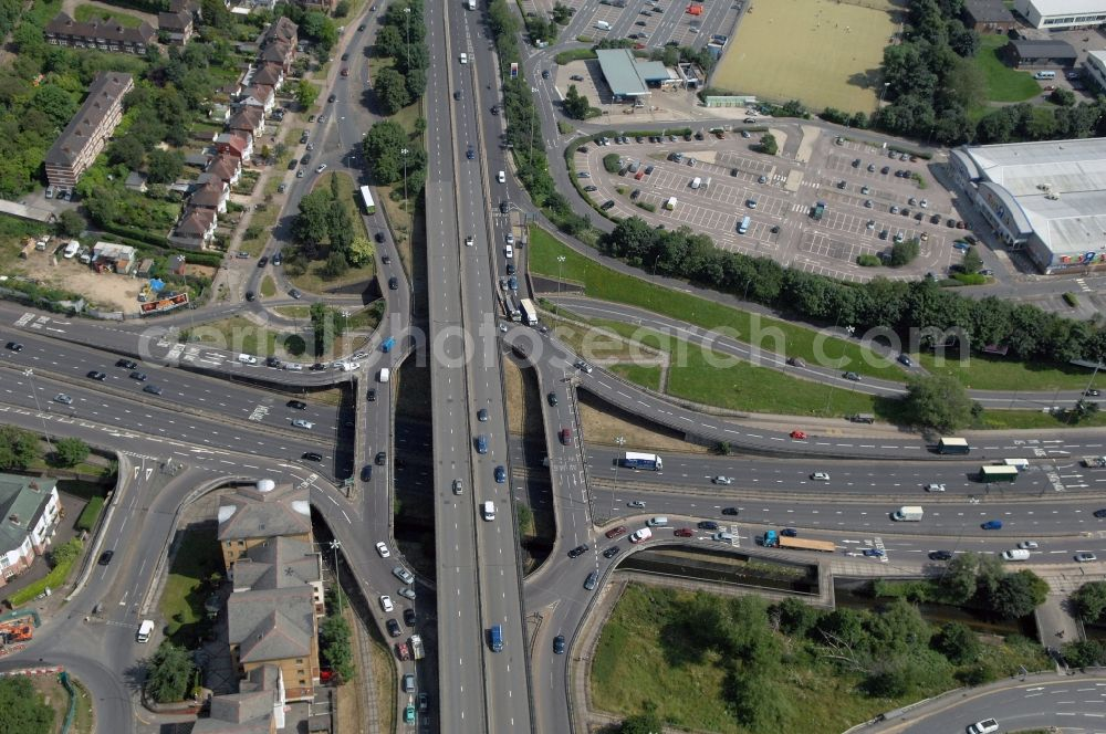 London from above - View at the Brent Cross flyover interchange in the district Barnet in London in the county of Greater London in the UK. Here in North West London the motorways A41 Hendon Way and the A406 North Circular Road get connected with each other