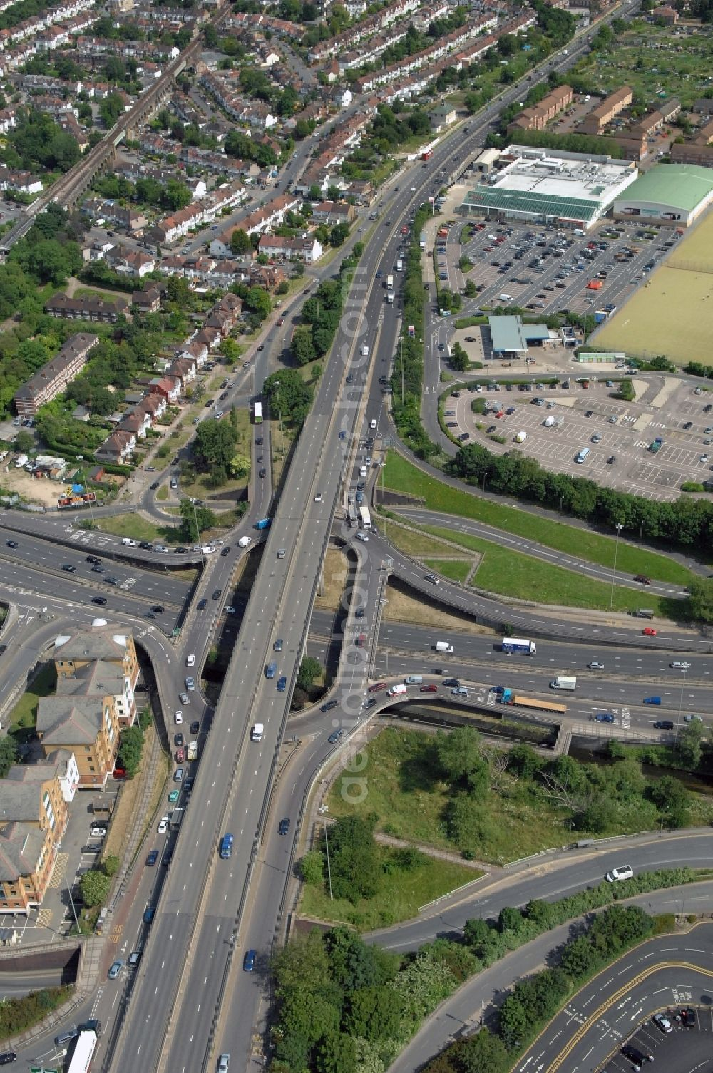 London from the bird's eye view: View at the Brent Cross flyover interchange in the district Barnet in London in the county of Greater London in the UK. Here in North West London the motorways A41 Hendon Way and the A406 North Circular Road get connected with each other