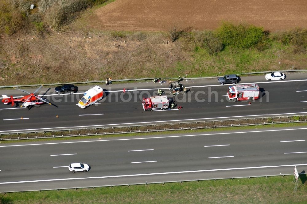 Aerial image Hann. Münden - Traffic accident with highway traffic jam on the route of Autobahn A7 in Hann. Muenden in the state Lower Saxony, Germany