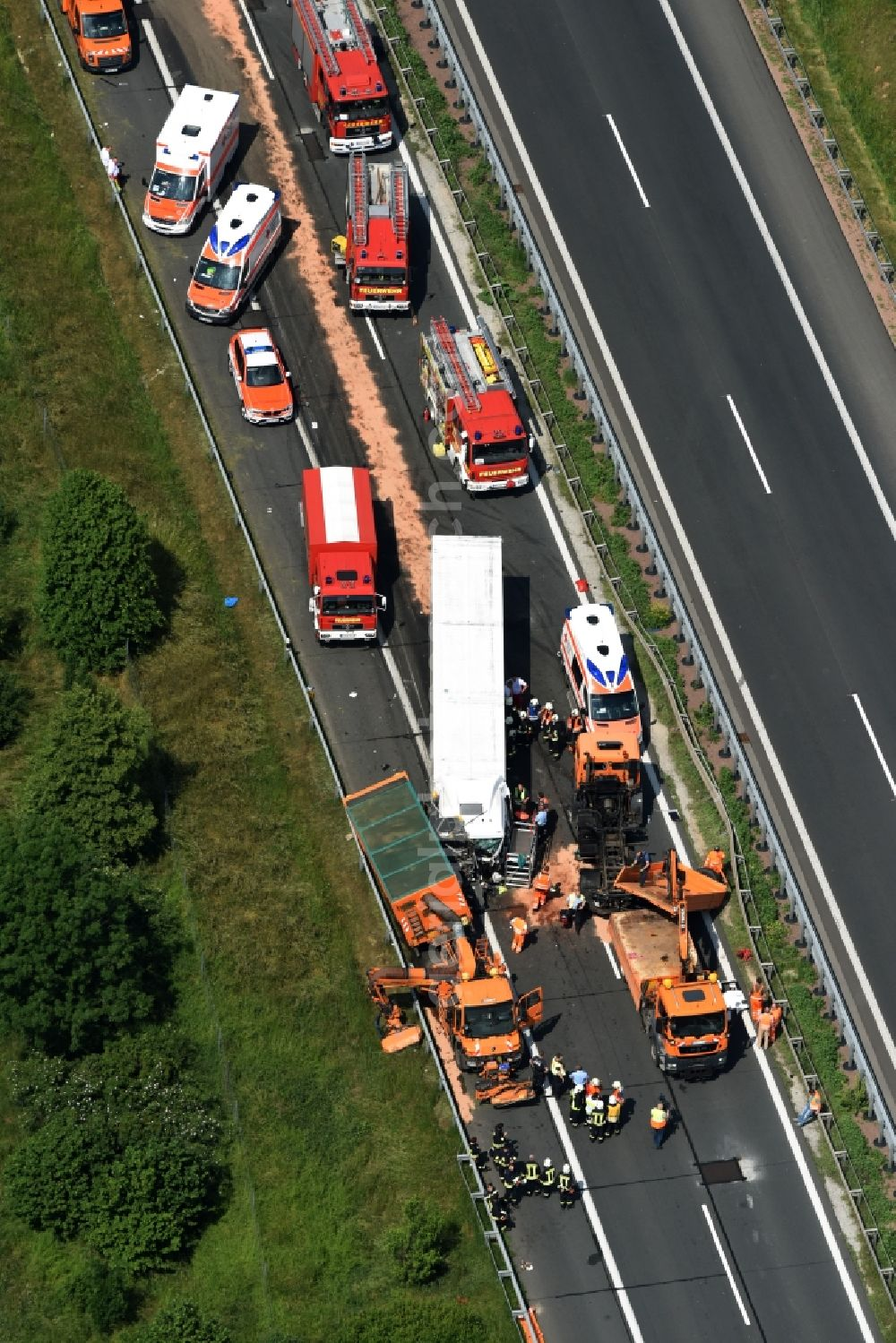 Plötzkau from above - Traffic accident with highway traffic