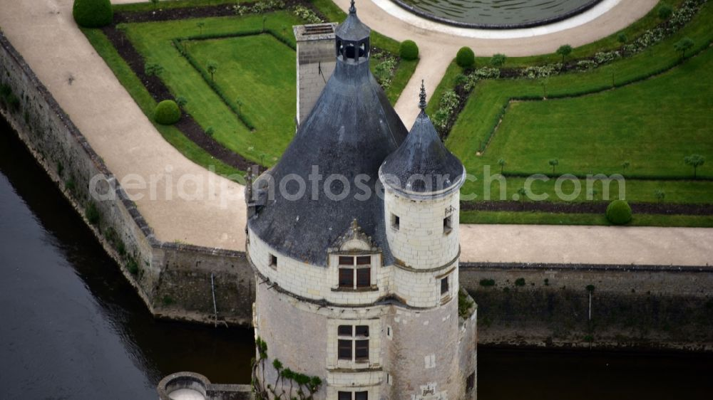 Aerial image Chenonceaux - The Chateau de Chenonceau is a surge in the French resort of Chenonceaux in the Indre-et-Loire region Centre.