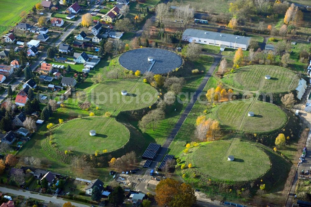 Aerial image Lindenberg - Waterworks - ground storage facility in the district Klarahoeh in Lindenberg in the state Brandenburg, Germany